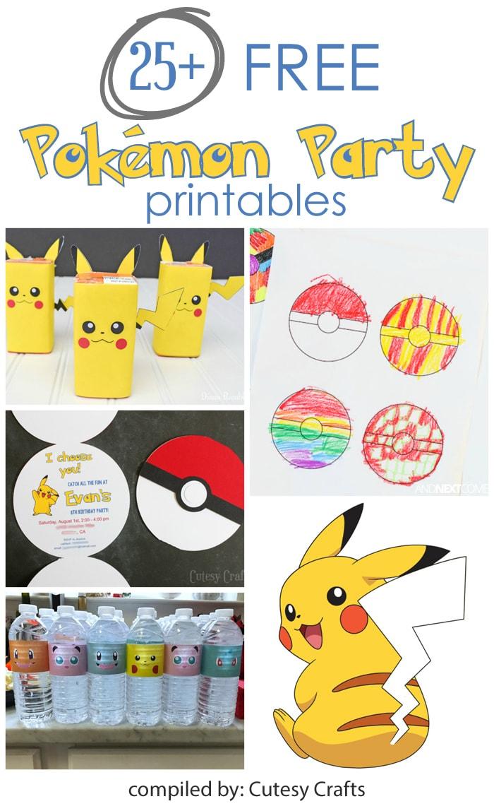 25+ Free Pokemon Party Printables - Cutesy Crafts - Free Printable Pokemon Birthday Invitations