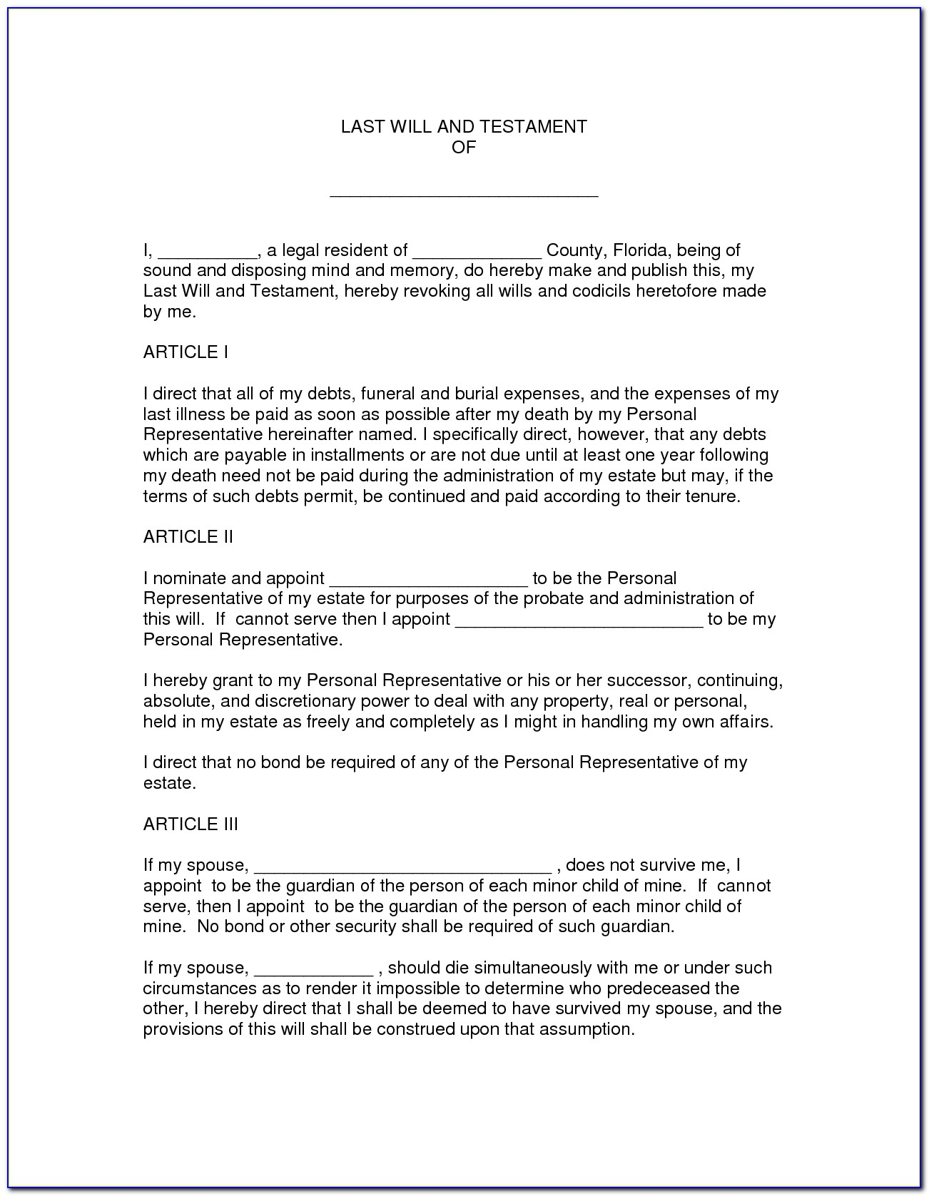 25 Images Of Florida Last Will Document Template | Crazybiker - Free Printable Florida Last Will And Testament Form
