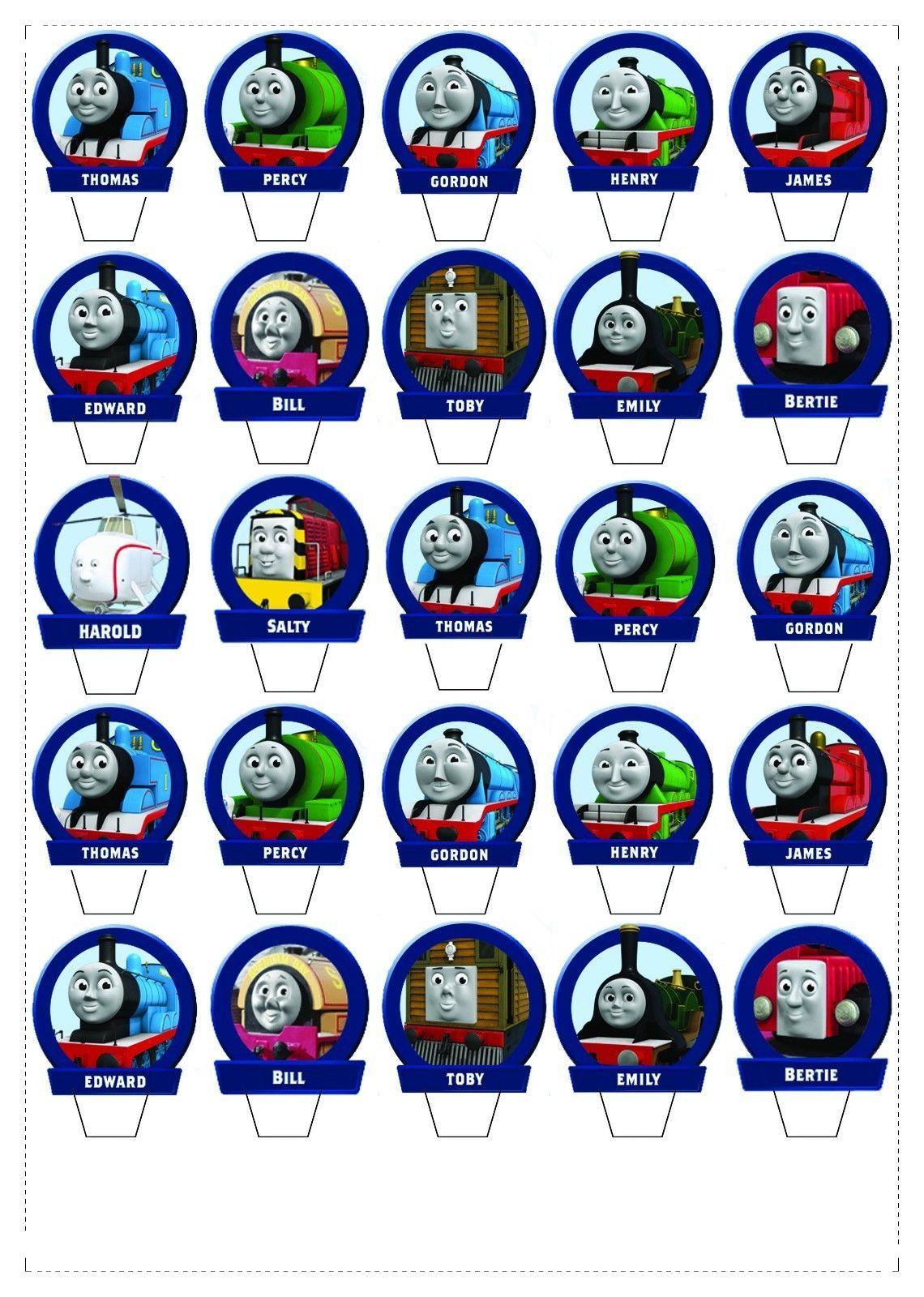 25 Thomas The Tank Standup Fairy Cupcake Topper *wafer* Edible - Free Printable Thomas The Train Cupcake Toppers