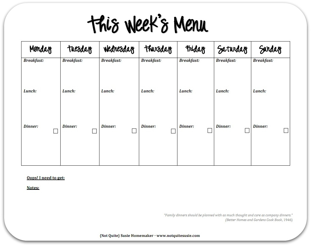 28 Useful Printable Monthly Meal Planners | Kittybabylove - Free Printable Monthly Meal Planner
