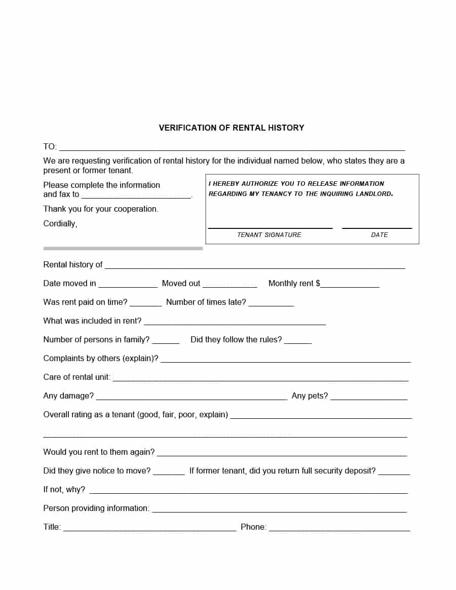 29 Rental Verification Forms (For Landlord Or Tenant) - Template Archive - Free Printable Landlord Forms