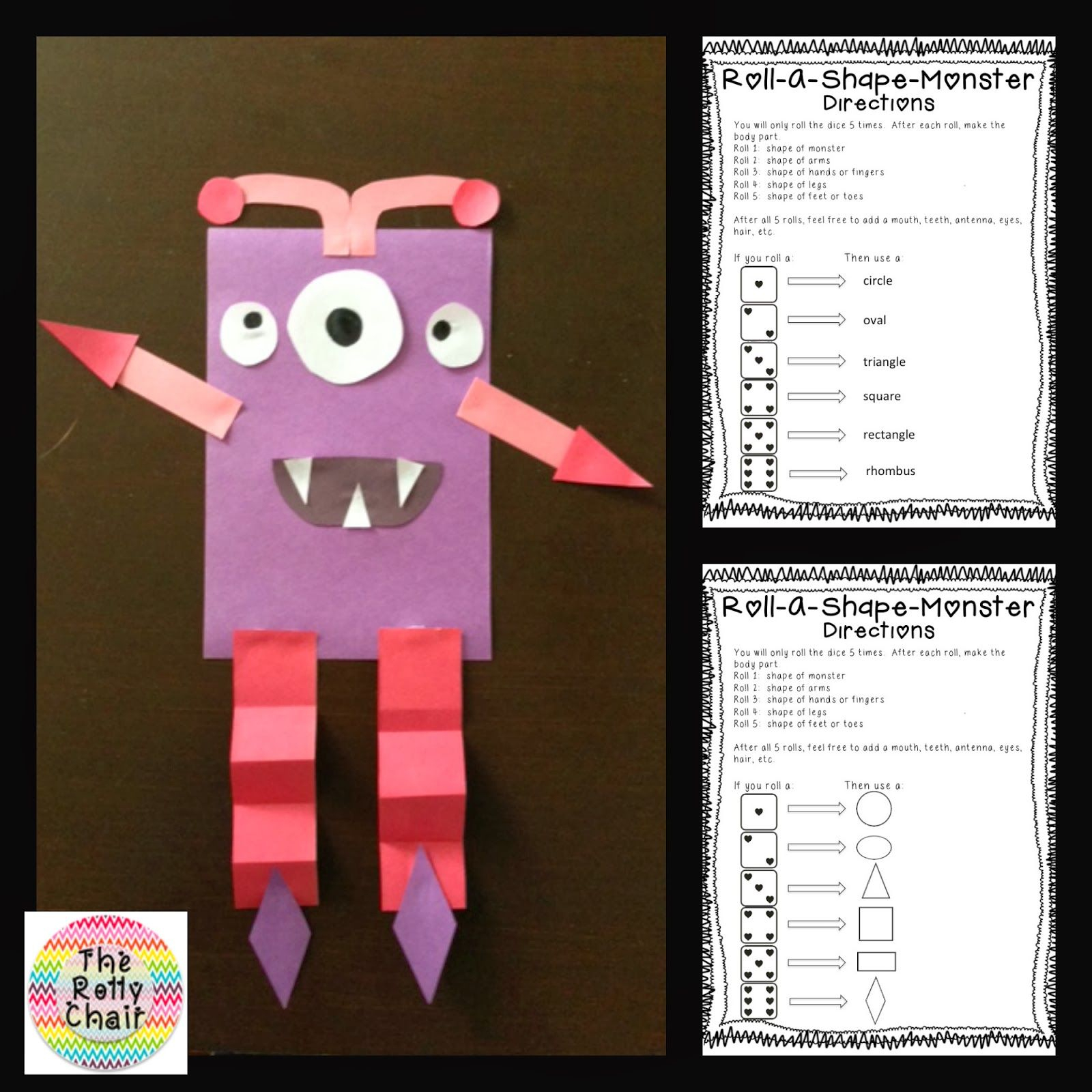 2D Shape Freebie! Roll-A-Shape Monster! Students Roll Dice And Draw - Roll A Monster Free Printable