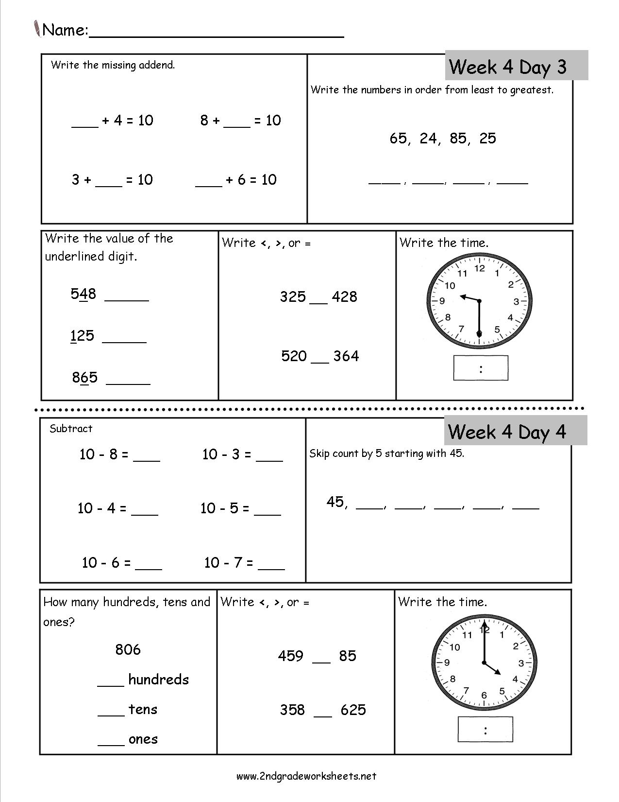 2Nd Grade Daily Math Worksheets - Free Printable Time Worksheets For Grade 3