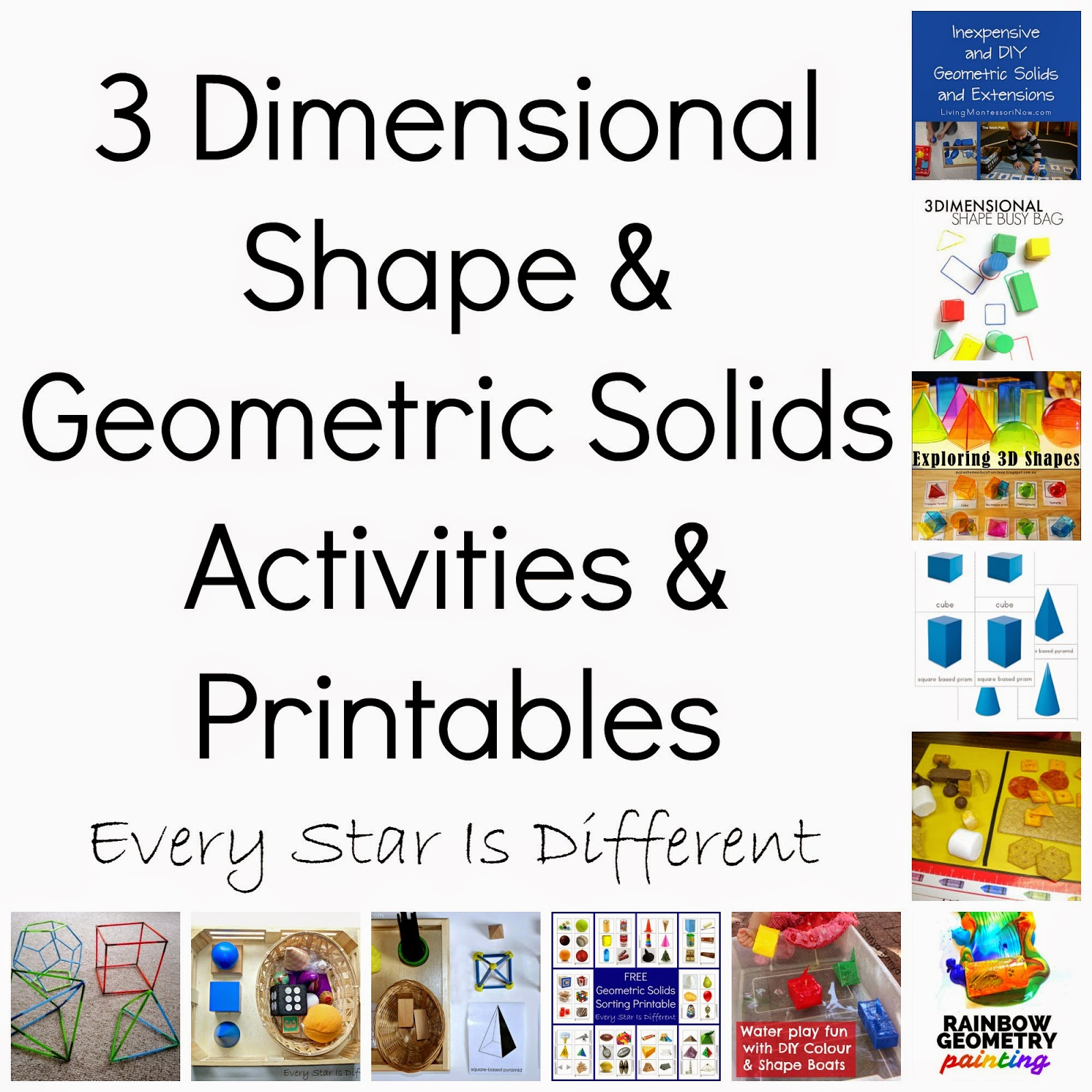 3 Dimensional Shapes Activities & Printables - Every Star Is Different - Free Printable Geometric Shapes