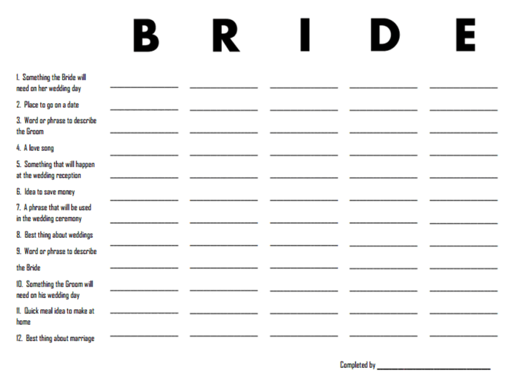 3 Free Printable Bridal Shower Games (That Are Actually Fun - Scattergories Free Printable Sheets
