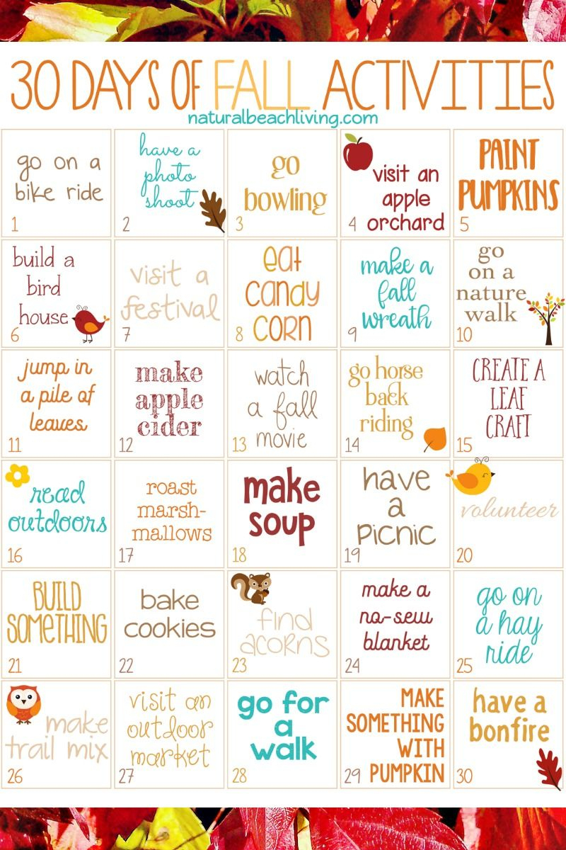 30 Days Of Fall Activities For The Whole Family (Free Printable - Free Printable Activities For Adults