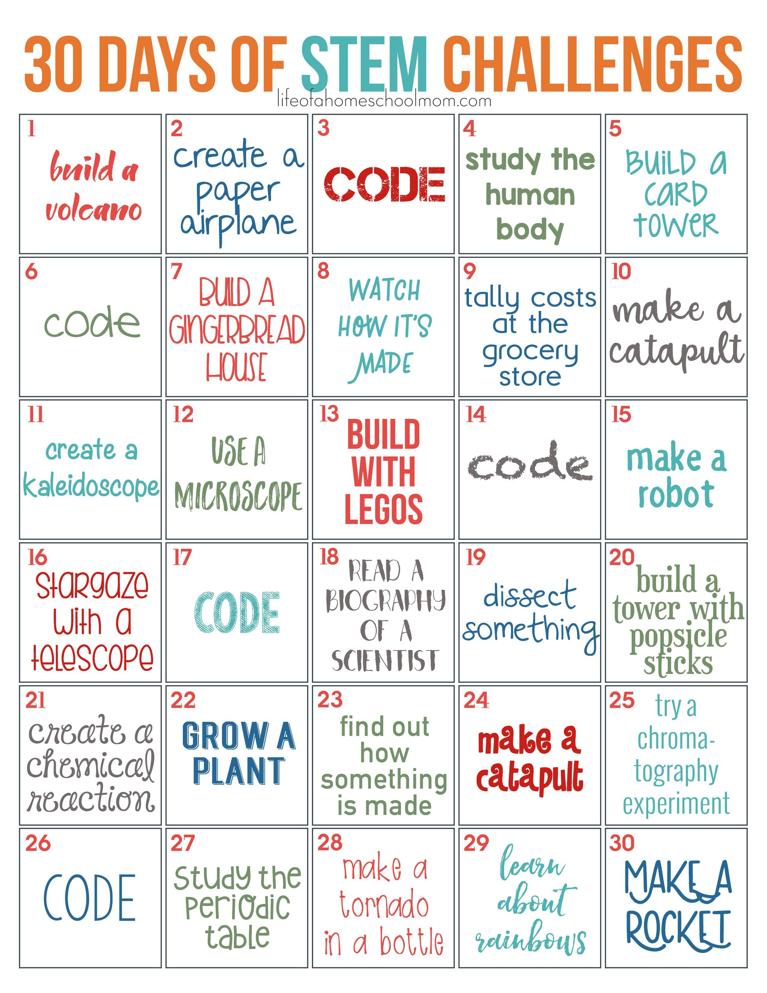 30 Days Of Stem Challenges - Free Printable | Stem Ideas | Stem - Free Printable Stem Activities