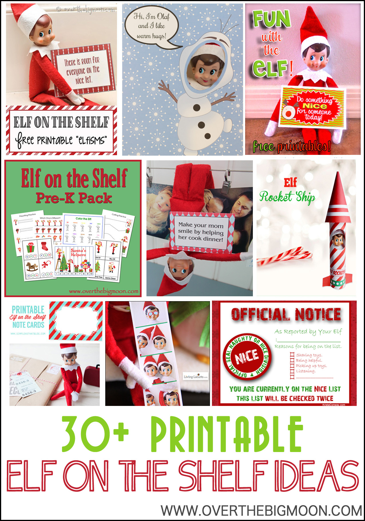 30+ Printable Elf On The Shelf Ideas - Over The Big Moon - Elf On The Shelf Printable Props Free