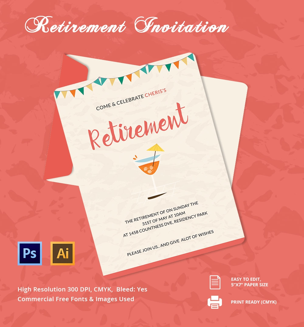 30+ Retirement Invitation Templates - Psd, Ai, Word | Free & Premium - Free Printable Retirement Party Invitations