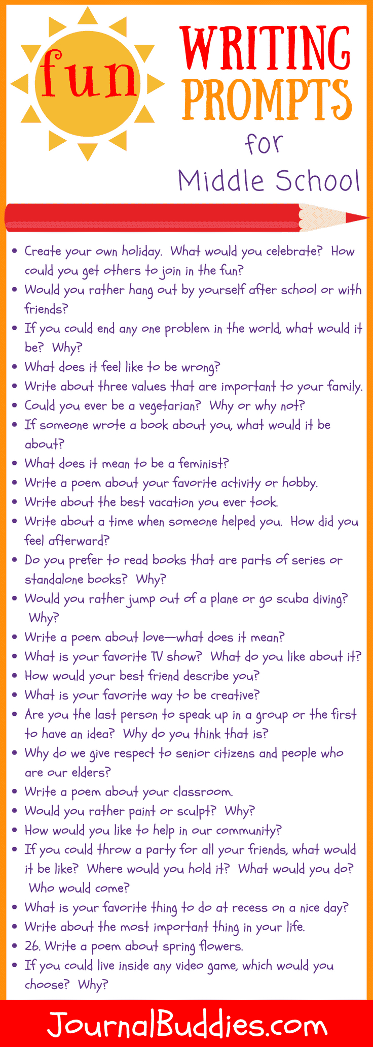 31 Fun Writing Prompts For Middle School ⋆ Journalbuddies - Free Printable Writing Prompts For Middle School
