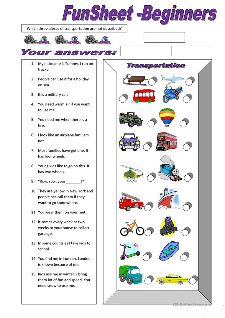 310 Free Esl Means Of Transport Worksheets - Free Printable Transportation Worksheets For Kids