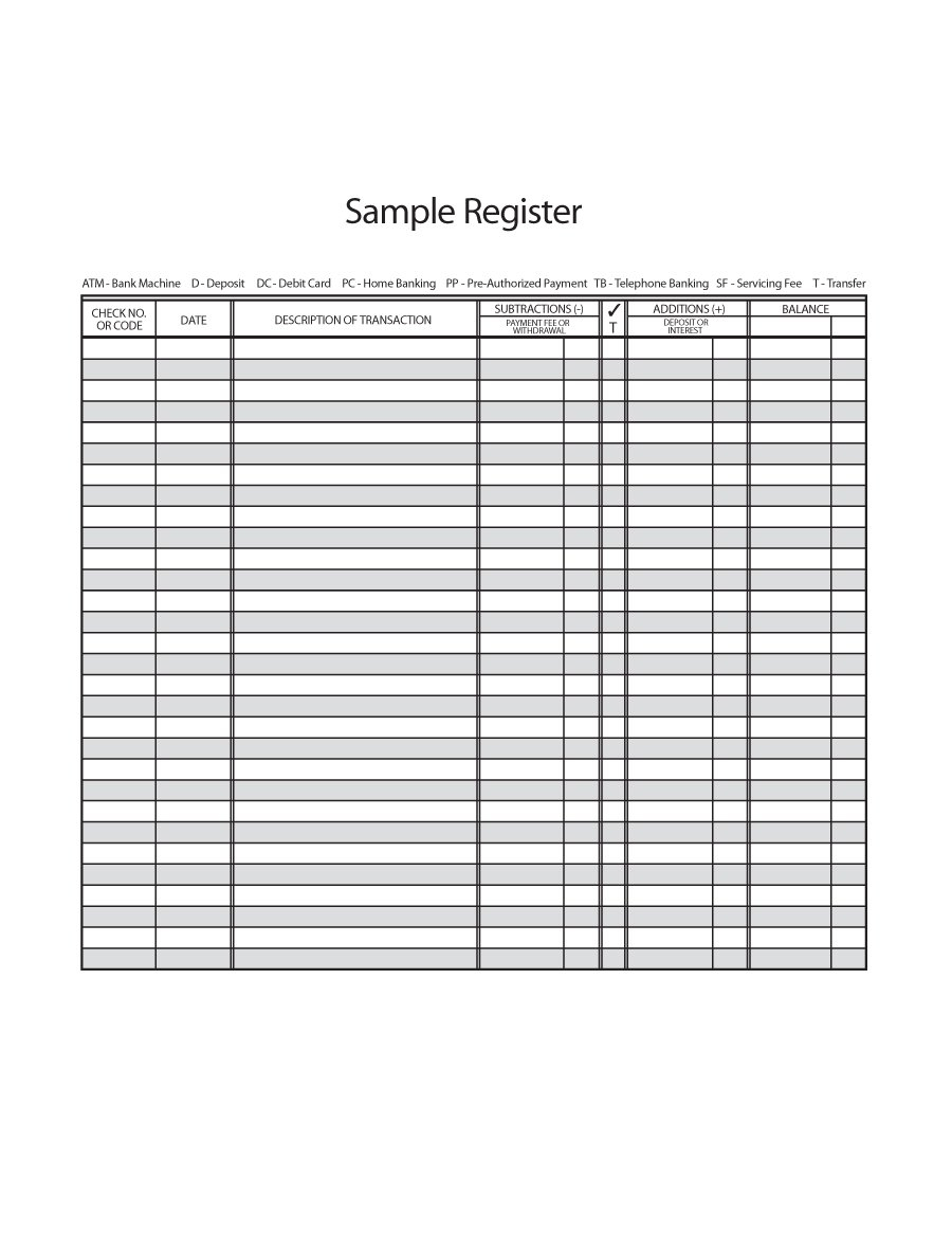 37 Checkbook Register Templates [100% Free, Printable] - Template Lab - Free Printable Check Register With Running Balance