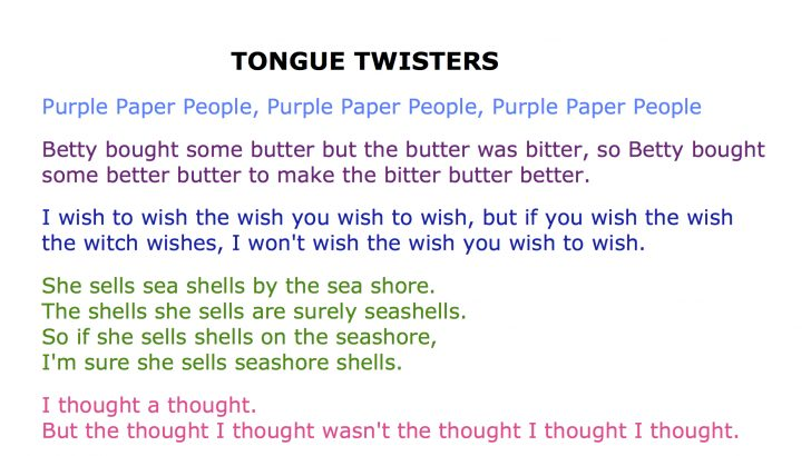 Free Printable Tongue Twisters