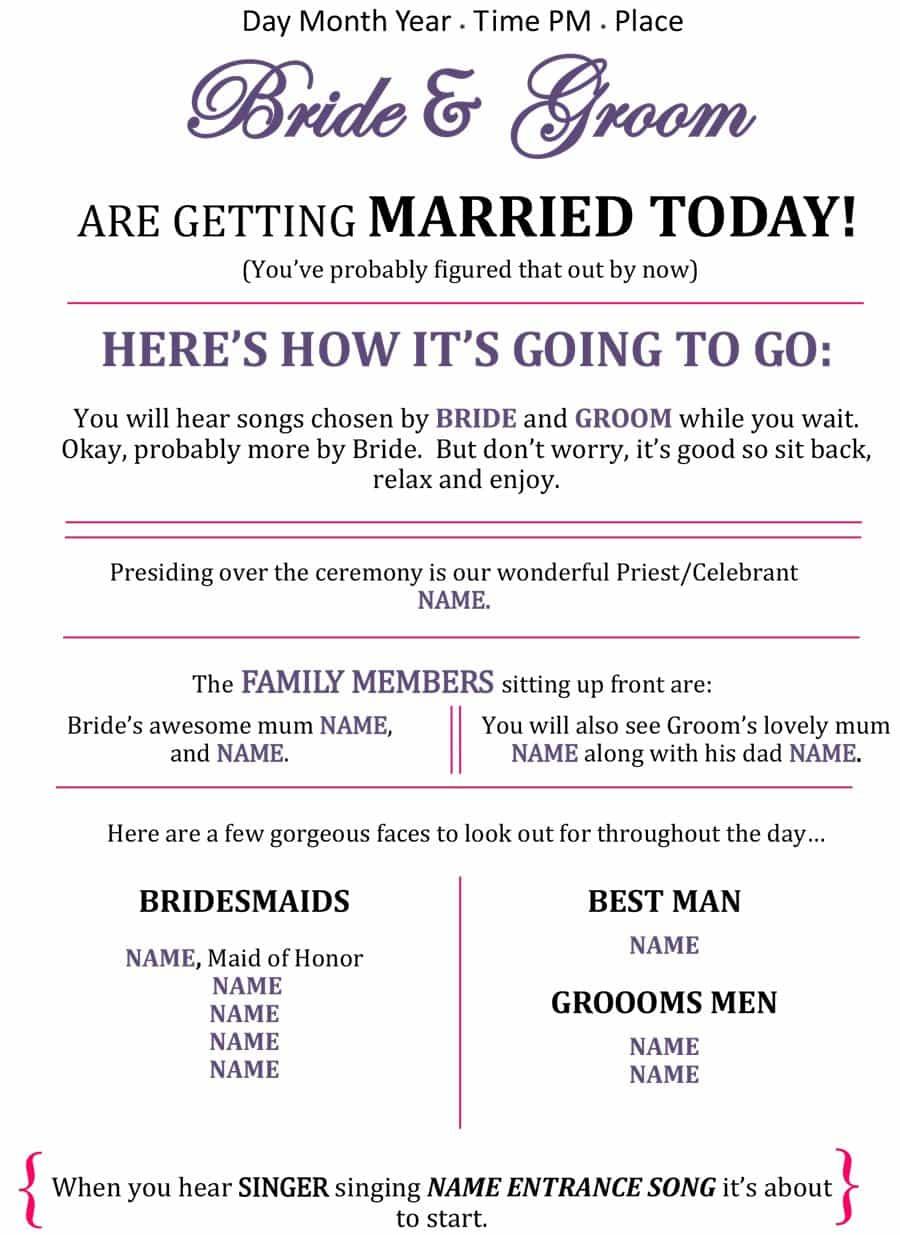 37 Printable Wedding Program Examples & Templates - Template Lab - Free Printable Wedding Program Samples