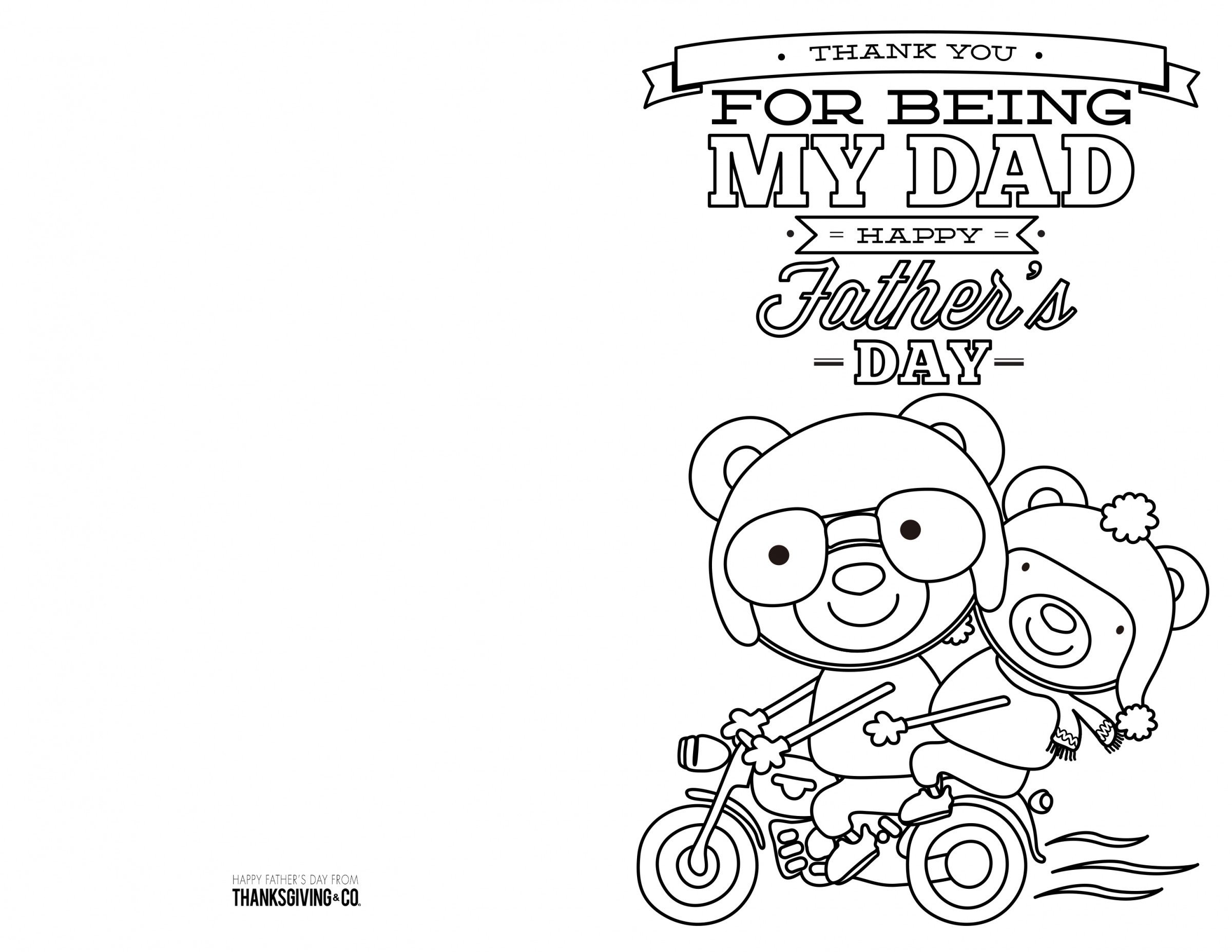 4 Free Printable Father's Day Cards To Color - Thanksgiving - Free Printable Cards To Color