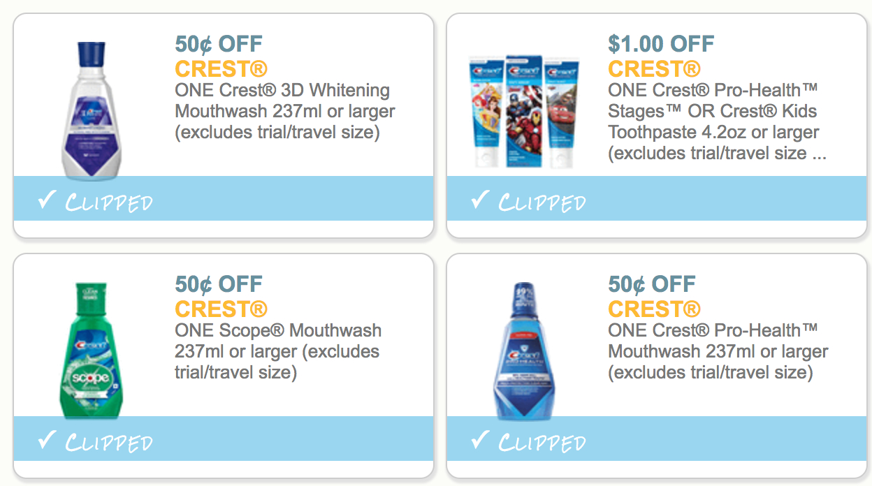 4 New Crest Coupons! Kids Toothpaste 50¢ During Super Doubles! - The - Free Printable Crest Coupons