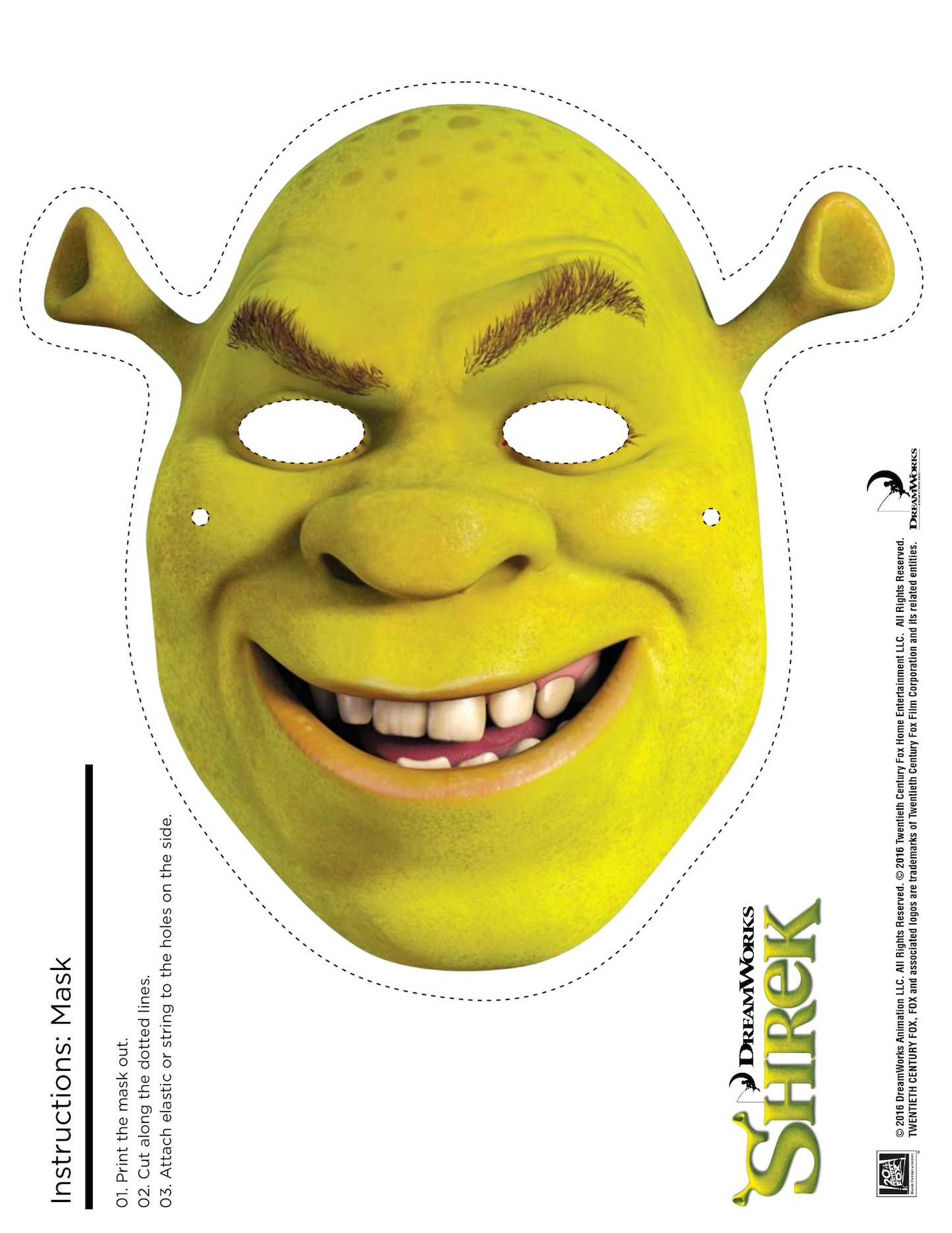 4 Shrek Free Printable Masks: Shrek, Fiona, Donkey, Puss In Boots - Free Printable Shrek Birthday Invitations