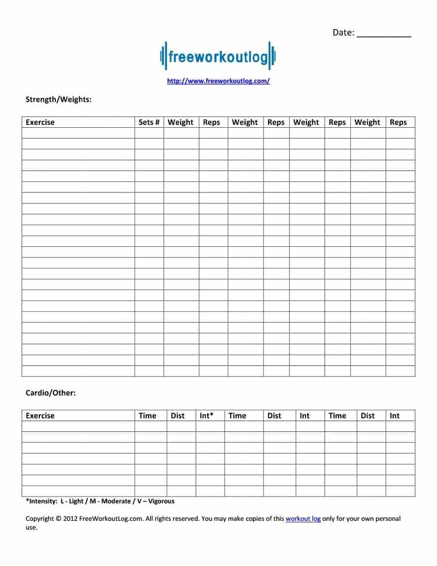 40+ Effective Workout Log & Calendar Templates - Template Lab - Free Printable Workout Log Sheets