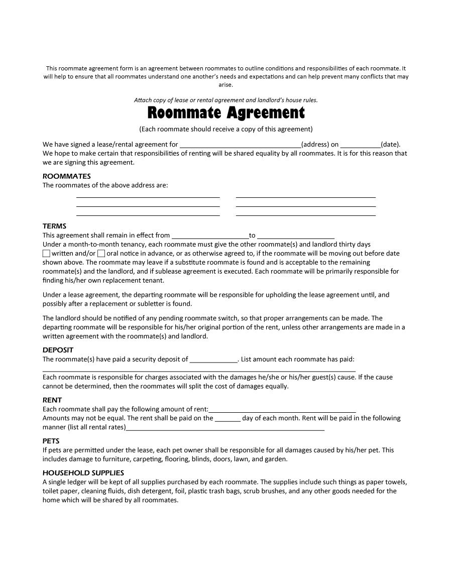 40+ Free Roommate Agreement Templates & Forms (Word, Pdf) - Free Printable Room Rental Agreement Forms