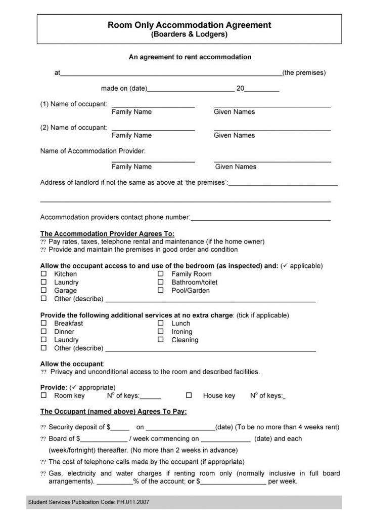 Free Printable Roommate Rental Agreement