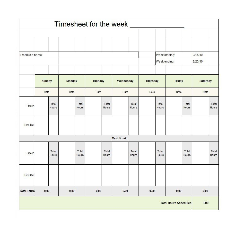 40 Free Timesheet / Time Card Templates - Template Lab - Monthly Timesheet Template Free Printable