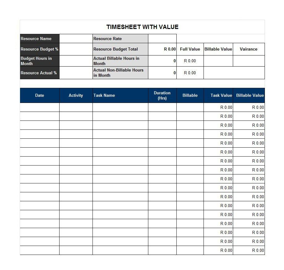 40 Free Timesheet / Time Card Templates - Template Lab - Time Card Templates Free Printable