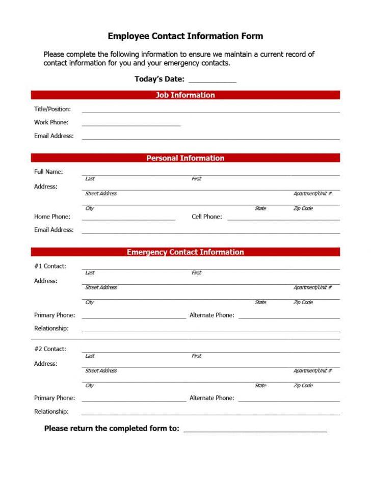 Free Printable Emergency Phone List