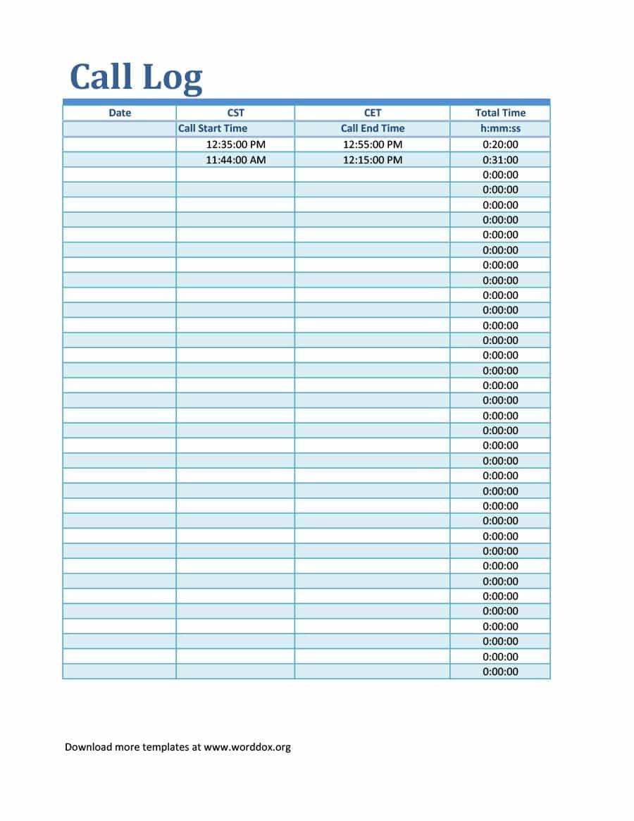 40+ Printable Call Log Templates In Microsoft Word And Excel - Free Printable Call Log Template