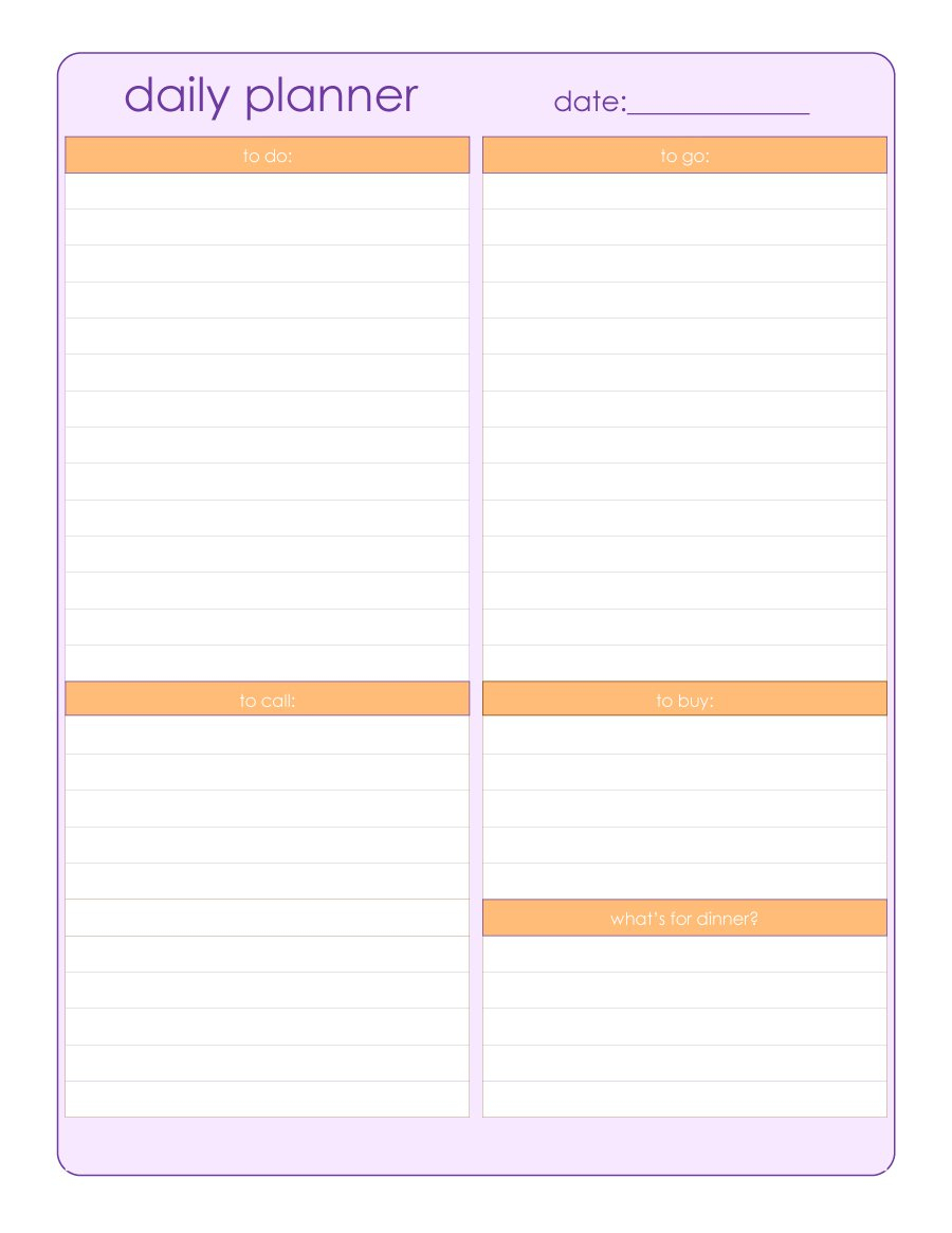 40+ Printable Daily Planner Templates (Free) - Template Lab - Free Printable Daily Planner