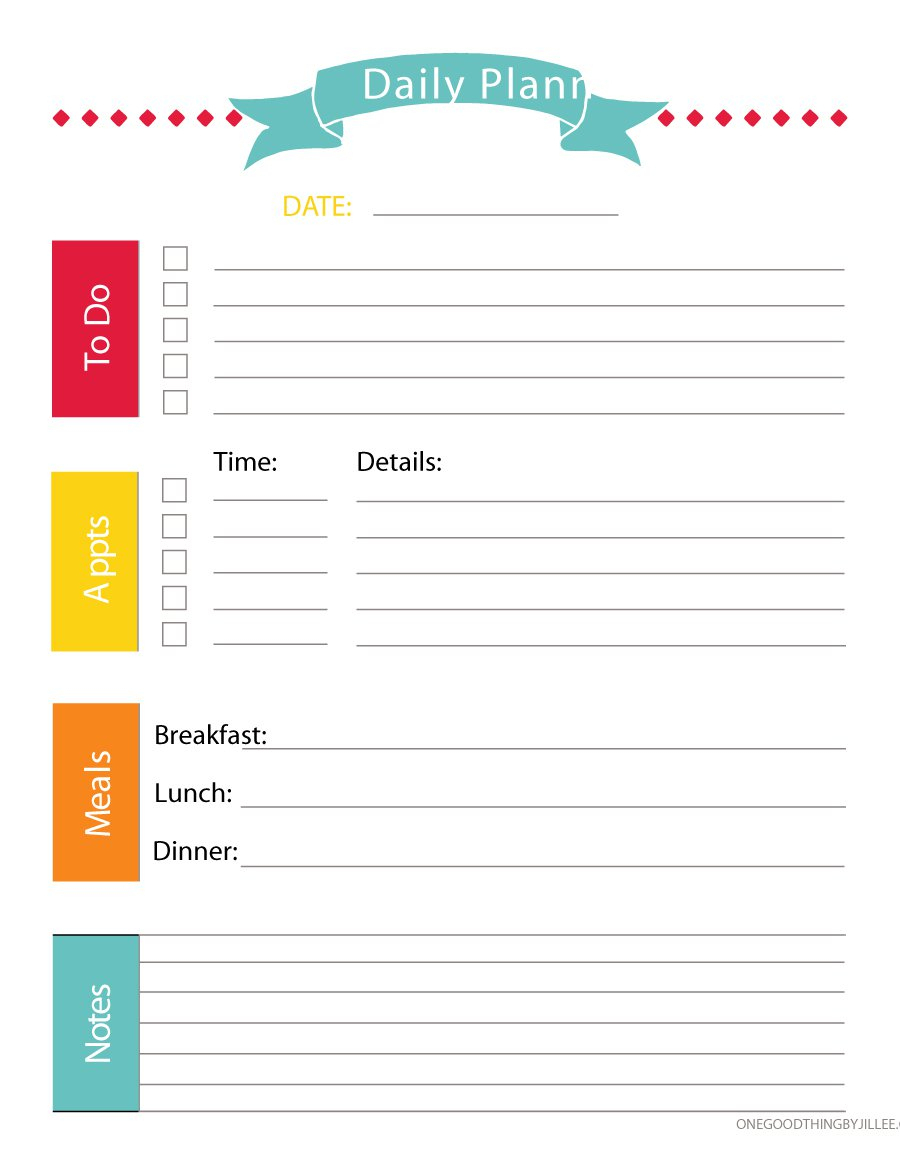 40+ Printable Daily Planner Templates (Free) - Template Lab - Free Printable Daily Schedule