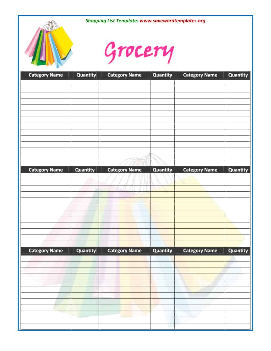 40+ Printable Grocery List Templates (Shopping List) - Template Lab - Free Printable Grocery List