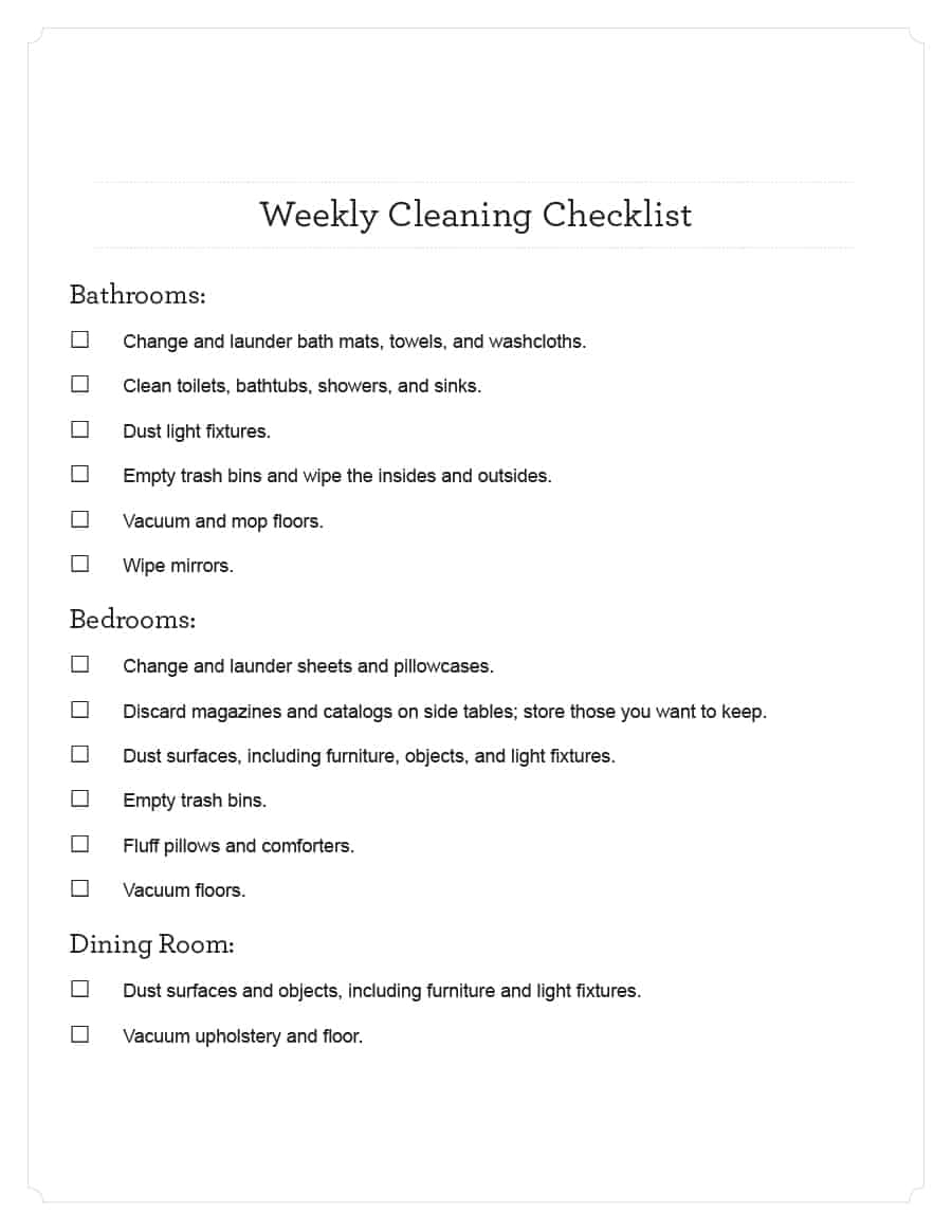 40 Printable House Cleaning Checklist Templates - Template Lab - Free Printable House Cleaning Checklist