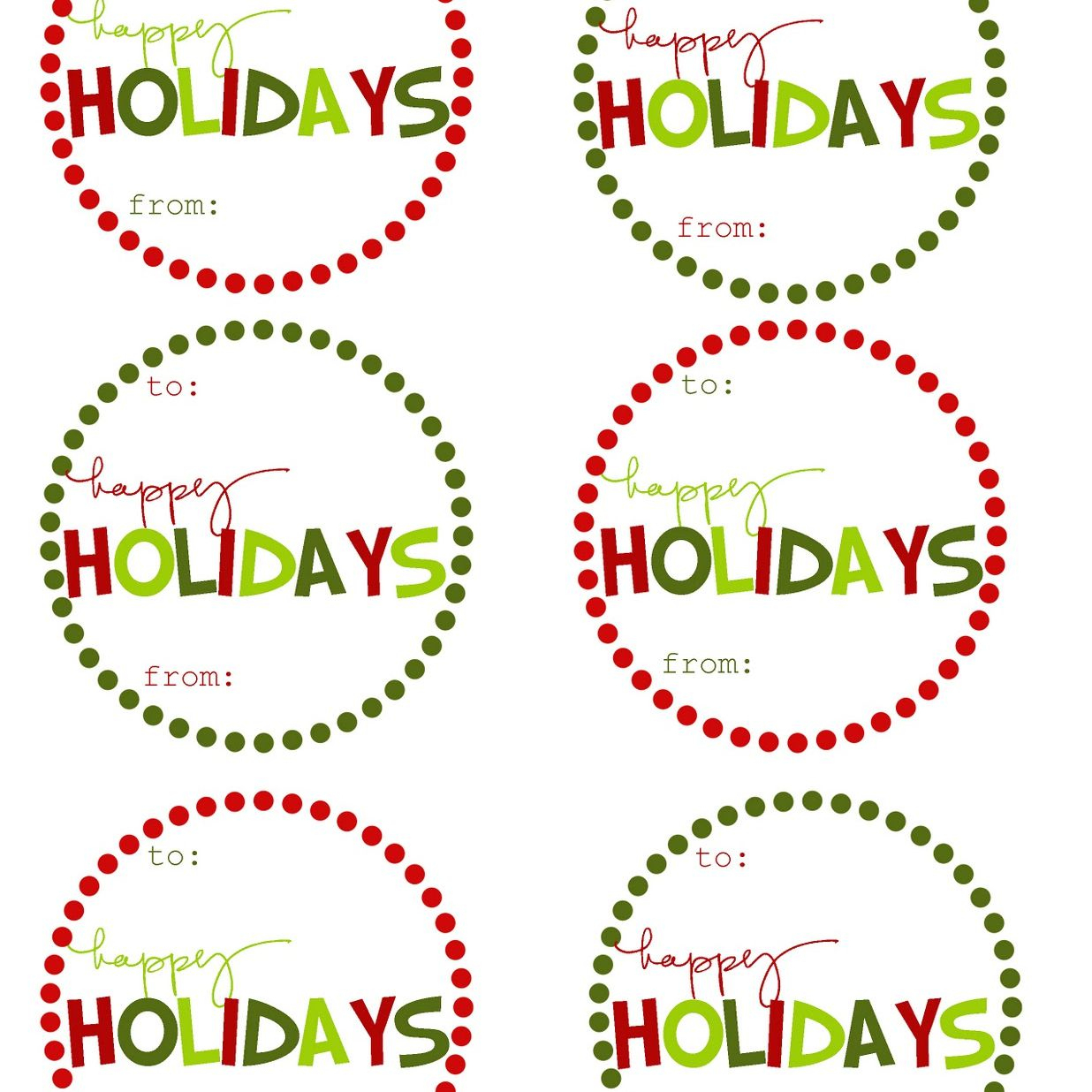 40 Sets Of Free Printable Christmas Gift Tags - Free Printable Toe Tags