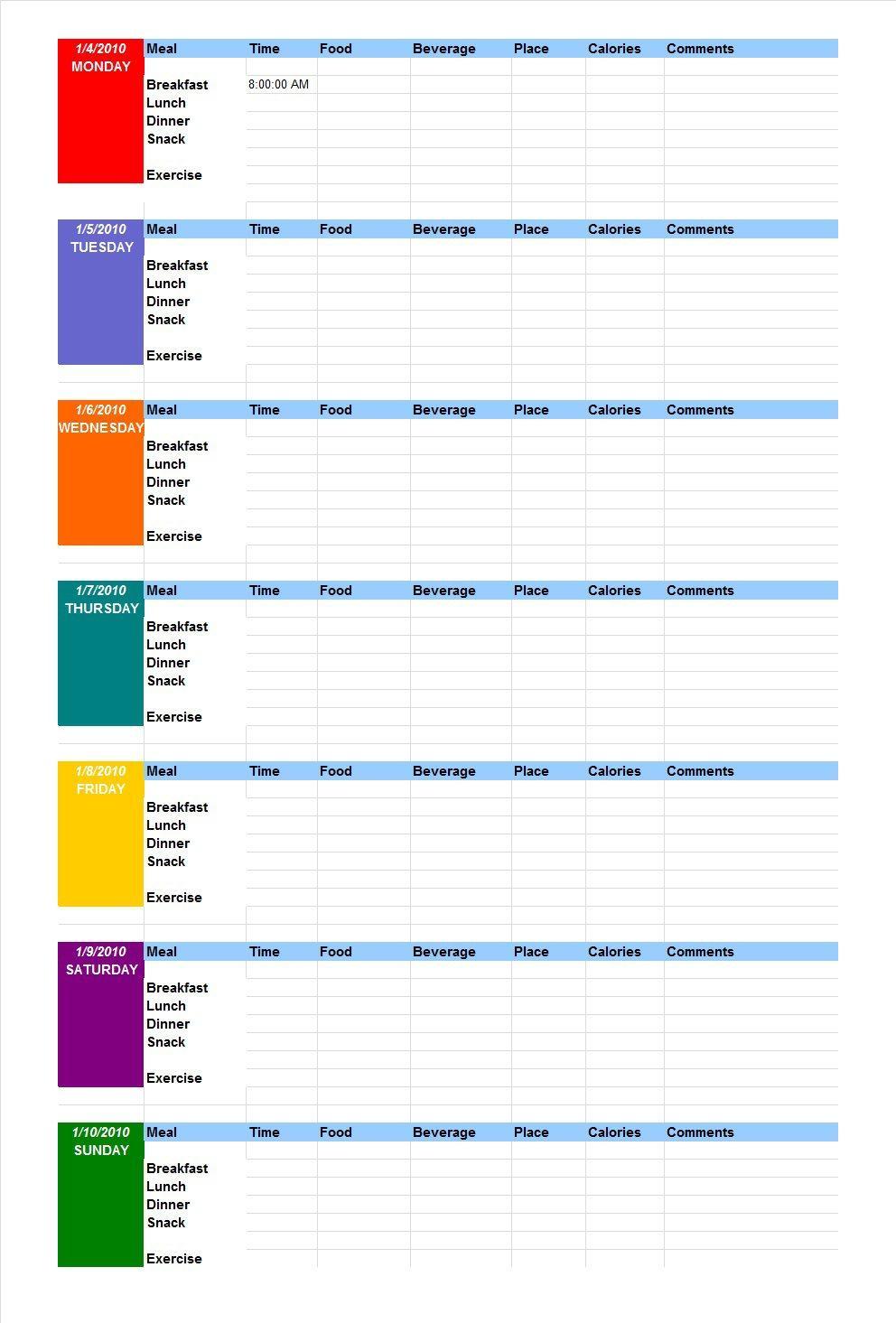 40 Simple Food Diary Templates & Food Log Examples - Diet Logs Printable Free