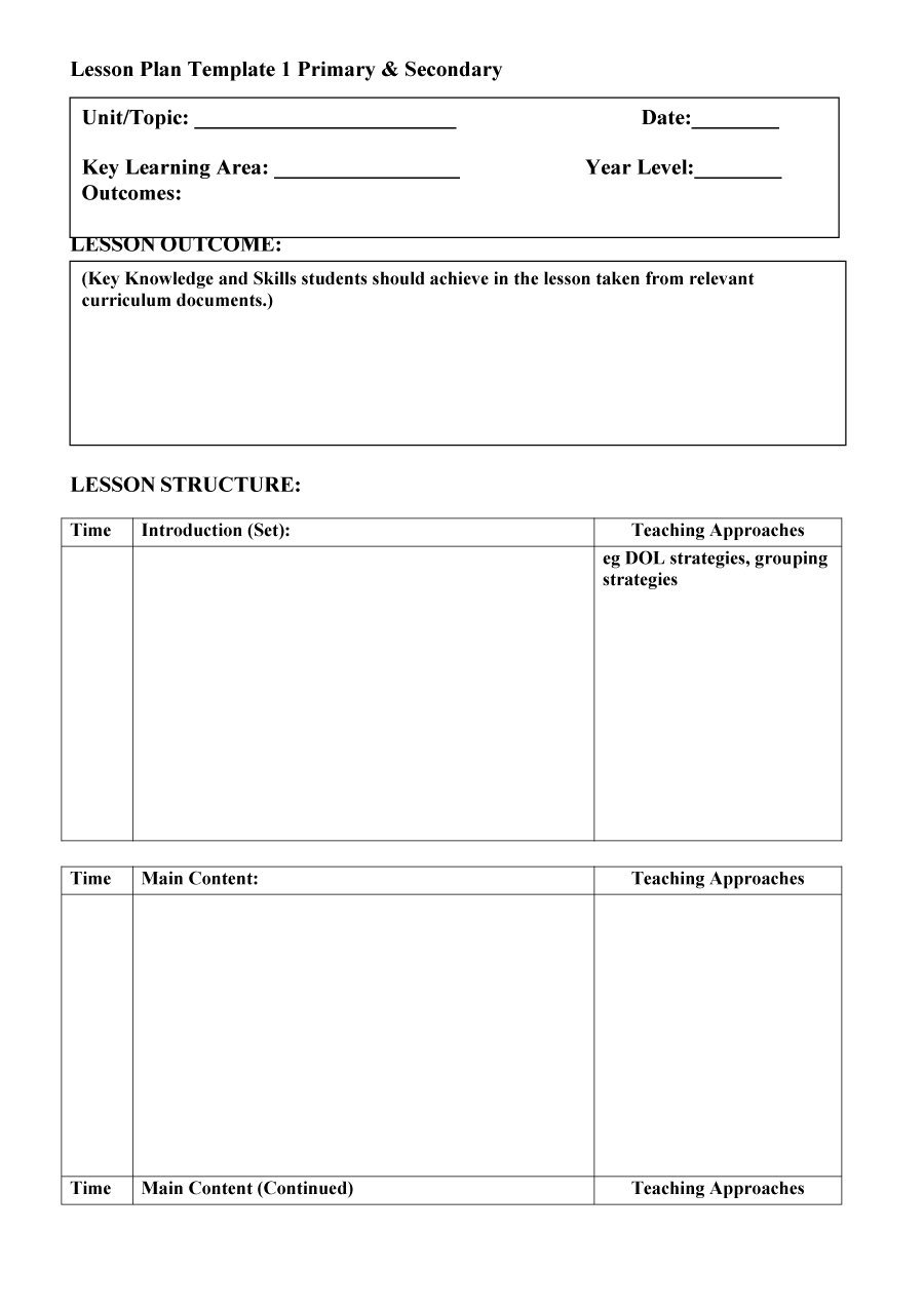 44 Free Lesson Plan Templates [Common Core, Preschool, Weekly] - Free Printable Lesson Plans For Toddlers