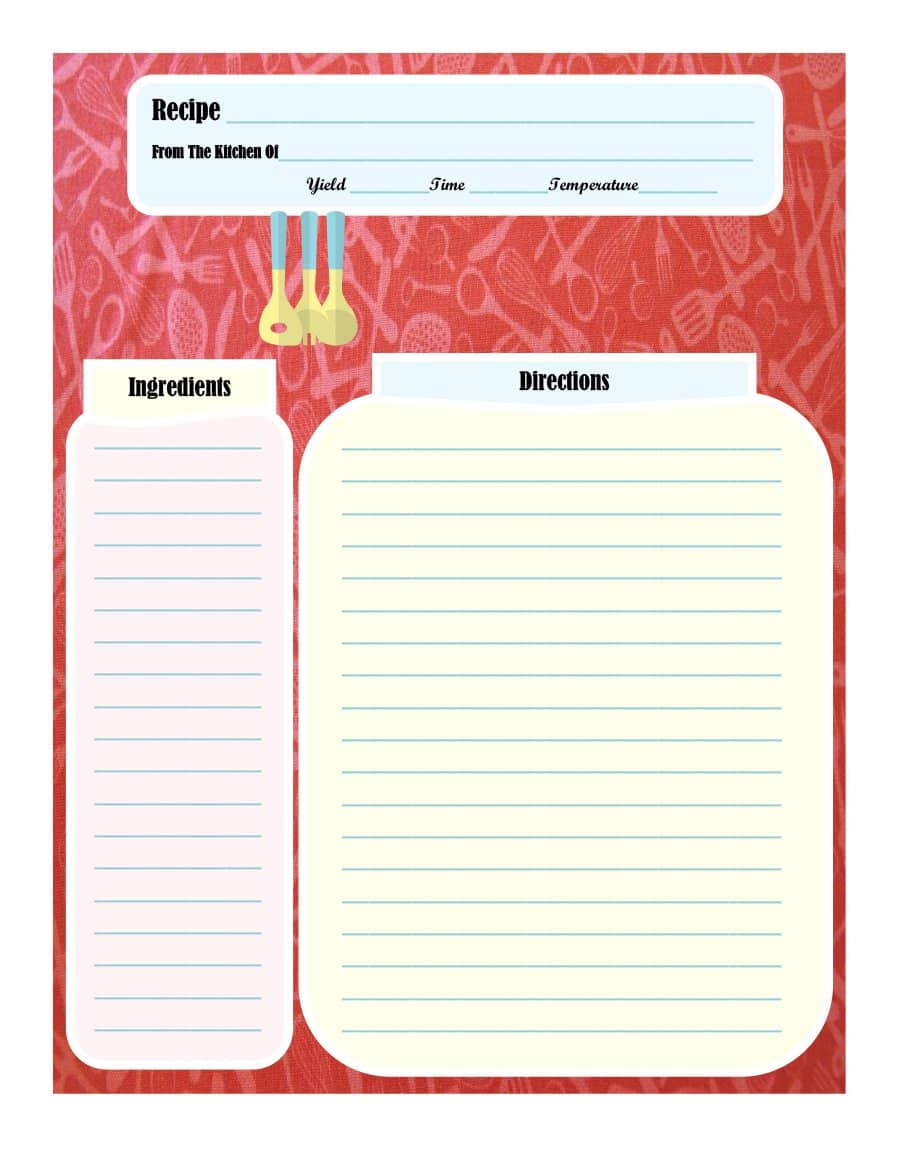 44 Perfect Cookbook Templates [+Recipe Book & Recipe Cards] - Free Printable Recipe Page Template