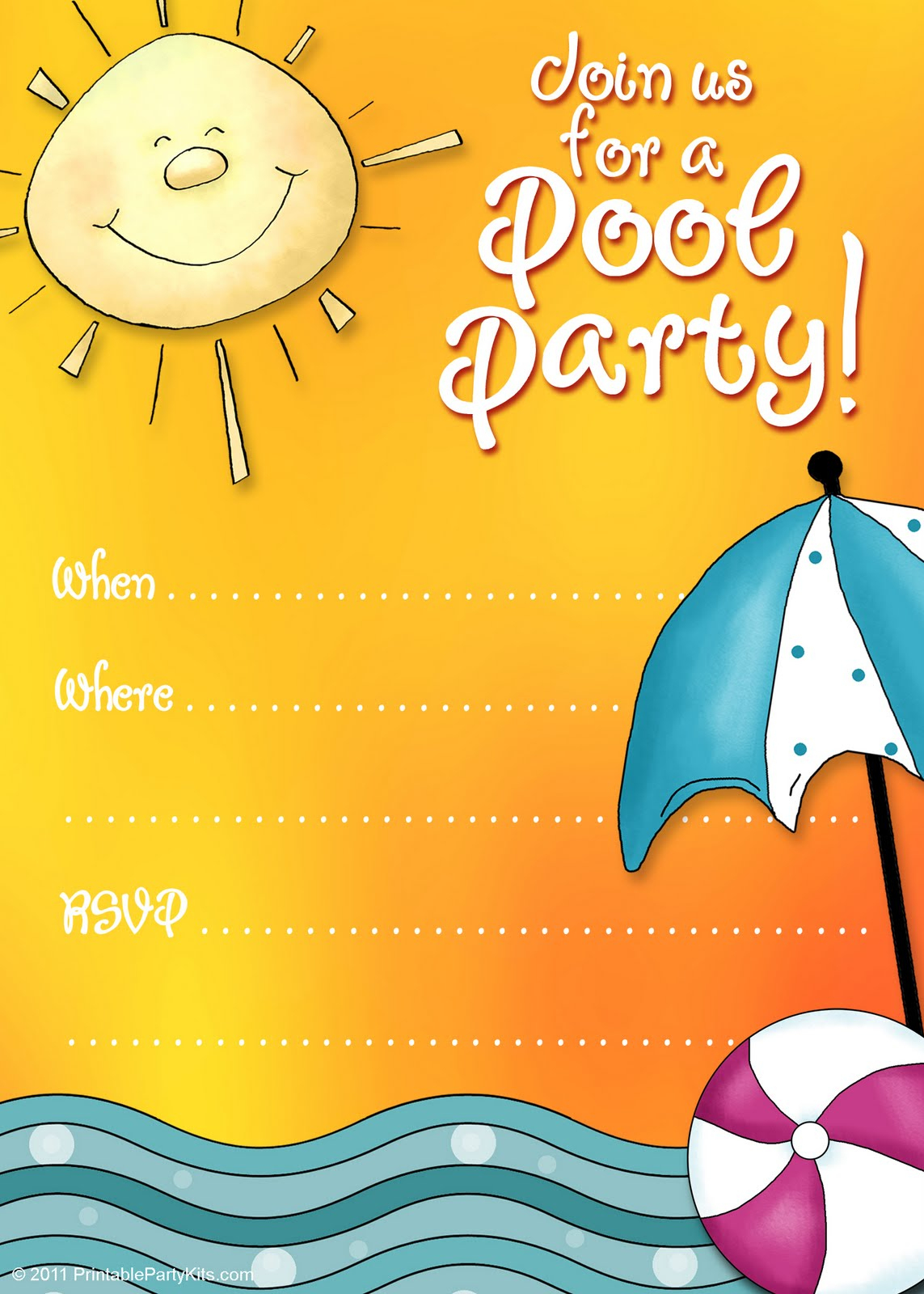 45 Pool Party Invitations | Kittybabylove - Free Printable Pool Party Birthday Invitations
