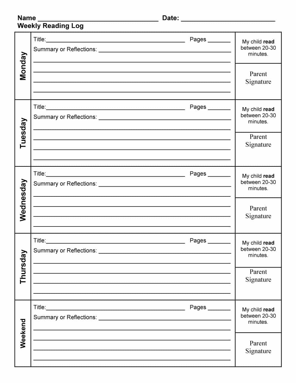 47 Printable Reading Log Templates For Kids, Middle School & Adults - Free Printable Reading Logs For Children