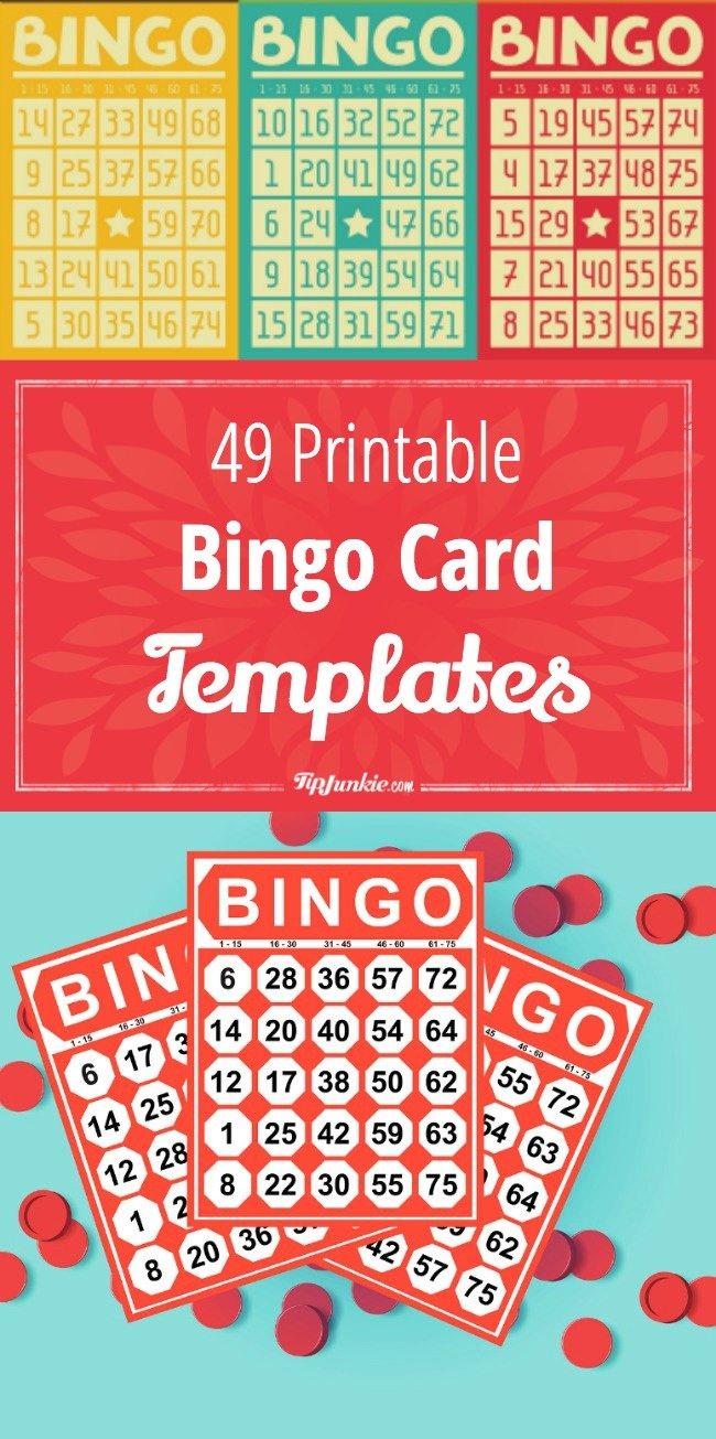 49 Printable Bingo Card Templates – Tip Junkie - Fraction Bingo Cards Printable Free