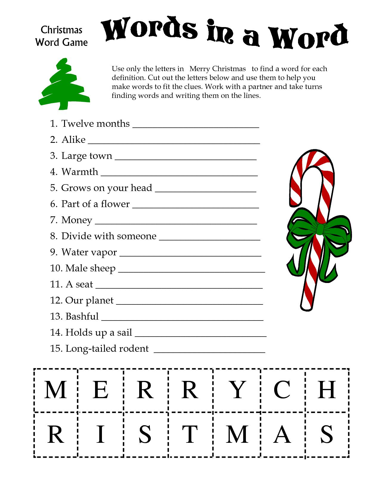 5 Images Of Free Printable Christmas Word Games | Printablee - Christmas Song Scramble Free Printable