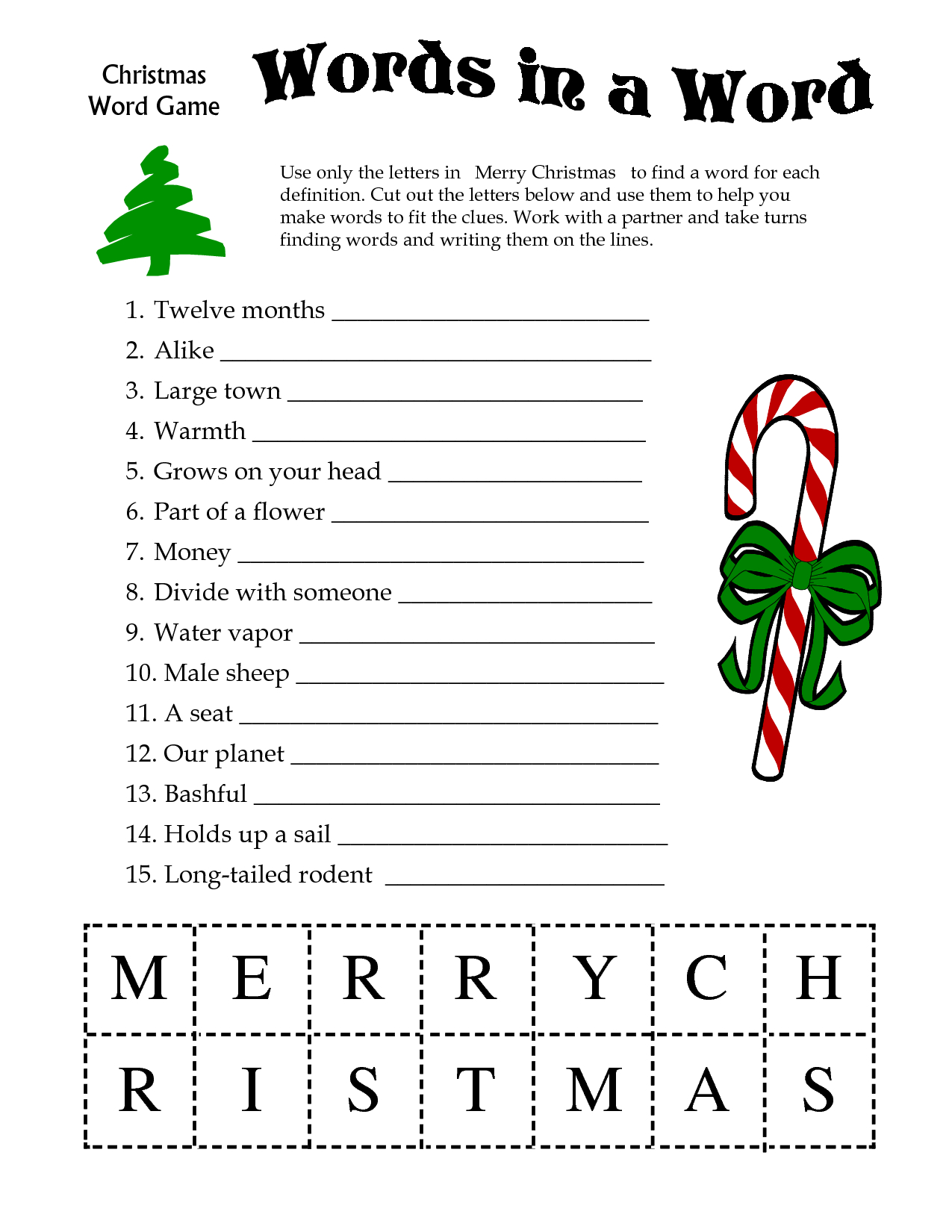 5 Images Of Free Printable Christmas Word Games | Printablee - Free Printable Picture Dictionary For Kids