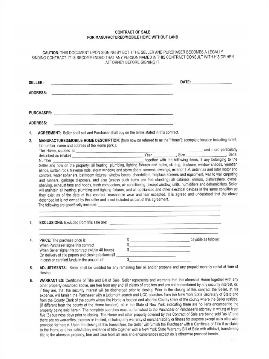 5+ Mobile Home Bill Of Sale Sample - Free Sample, Example Format - Free Printable Bill Of Sale For Mobile Home