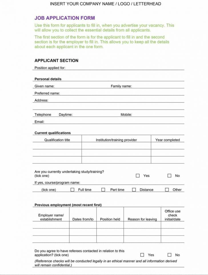 Free Printable Employment Application