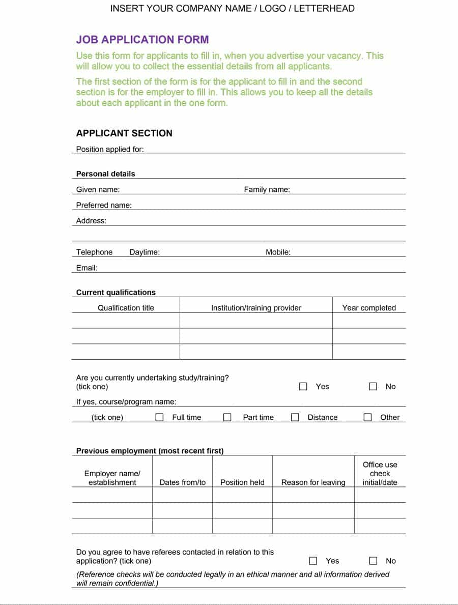 50 Free Employment / Job Application Form Templates [Printable - Free Printable Employment Application