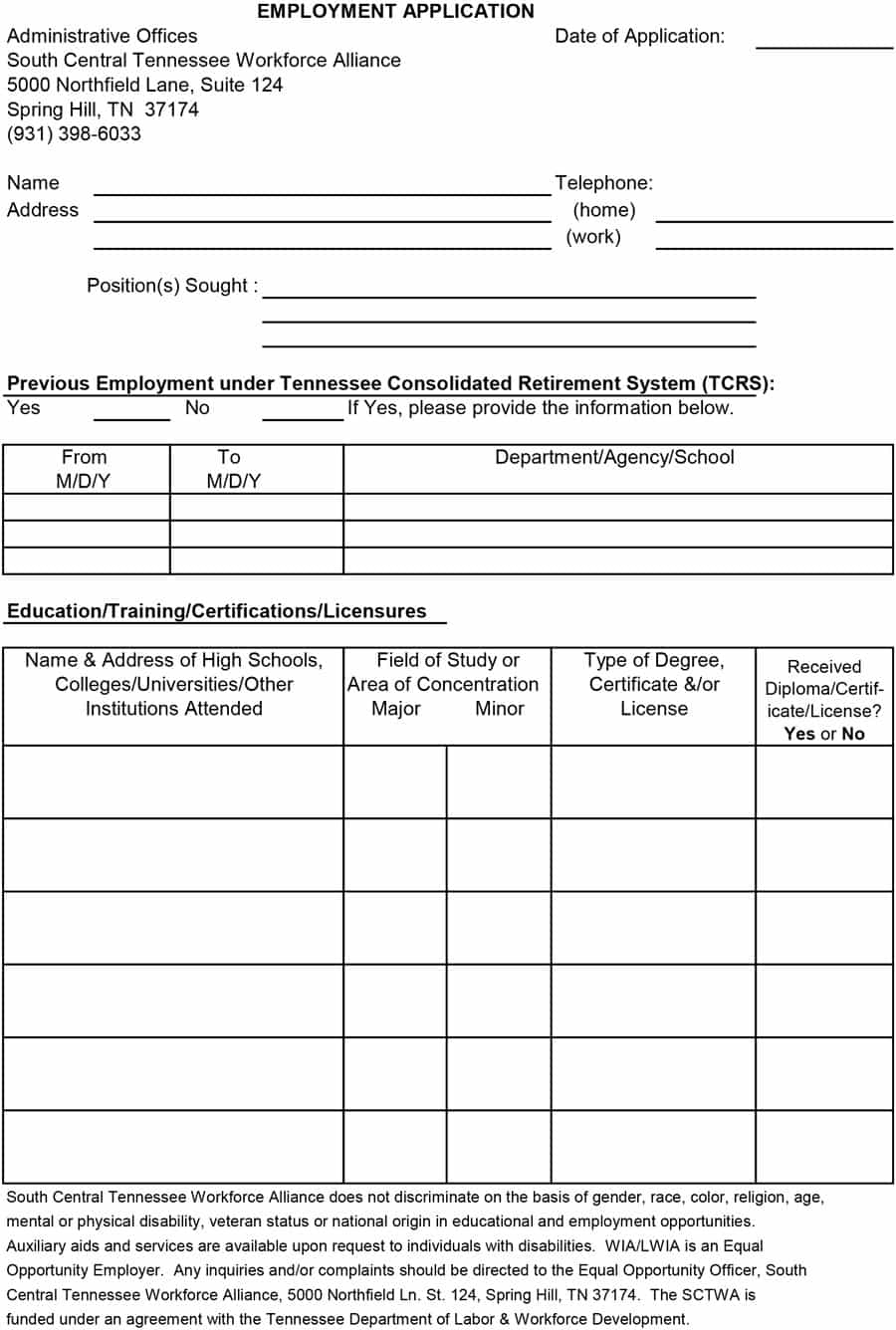 50 Free Employment / Job Application Form Templates [Printable - Free Printable Membership Forms