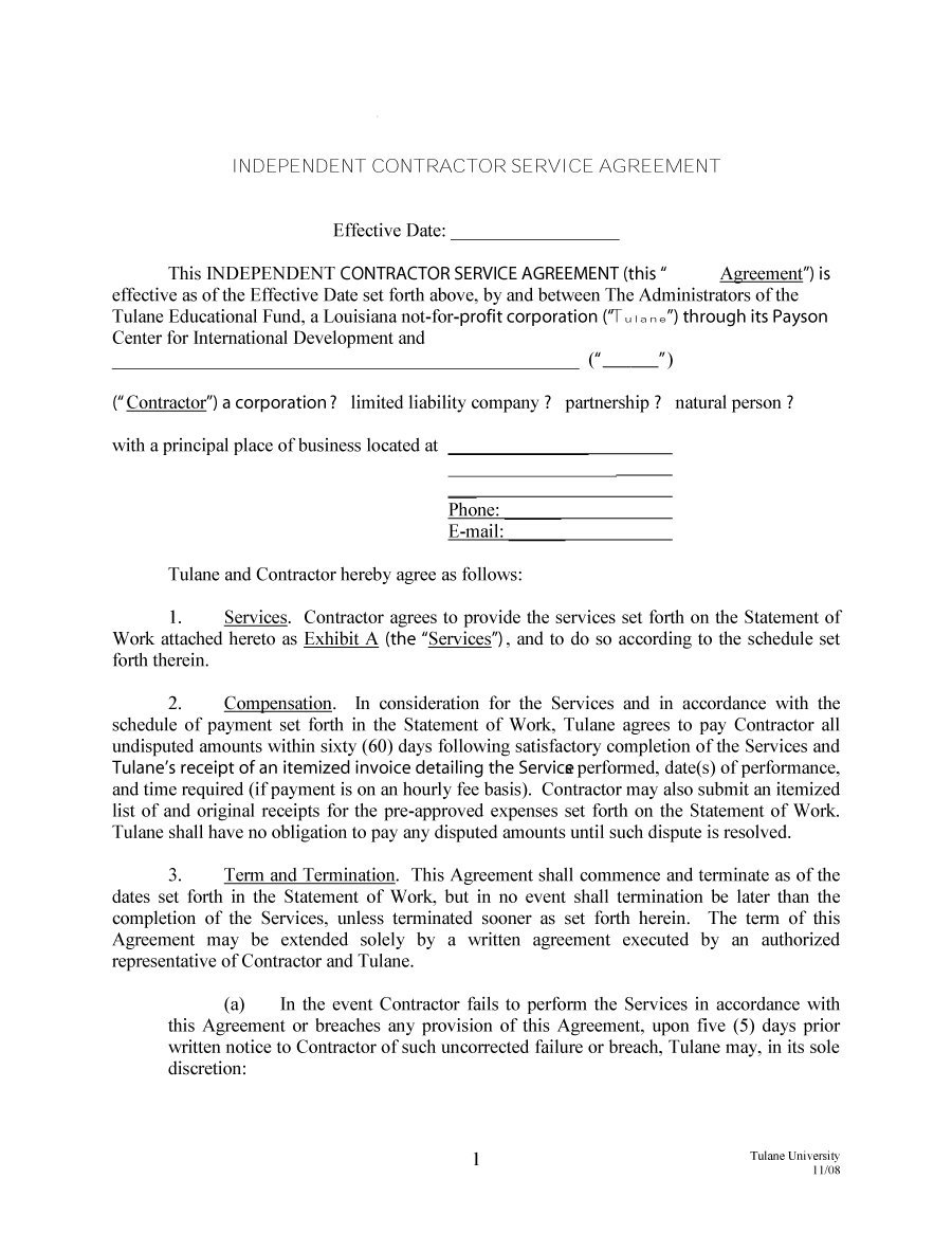 50+ Free Independent Contractor Agreement Forms & Templates - Free Printable Service Contract Forms
