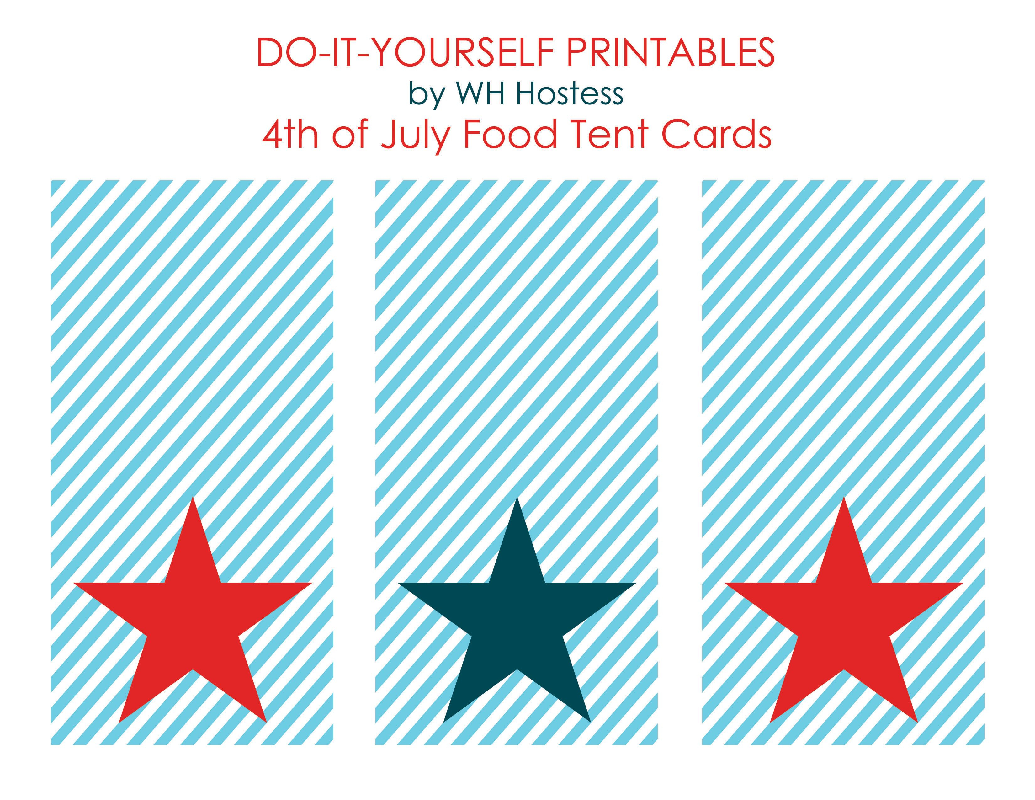 50 Independence Day (July 4Th Free Printables   Holidays   4Th Of - Free Printable Food Tent Cards