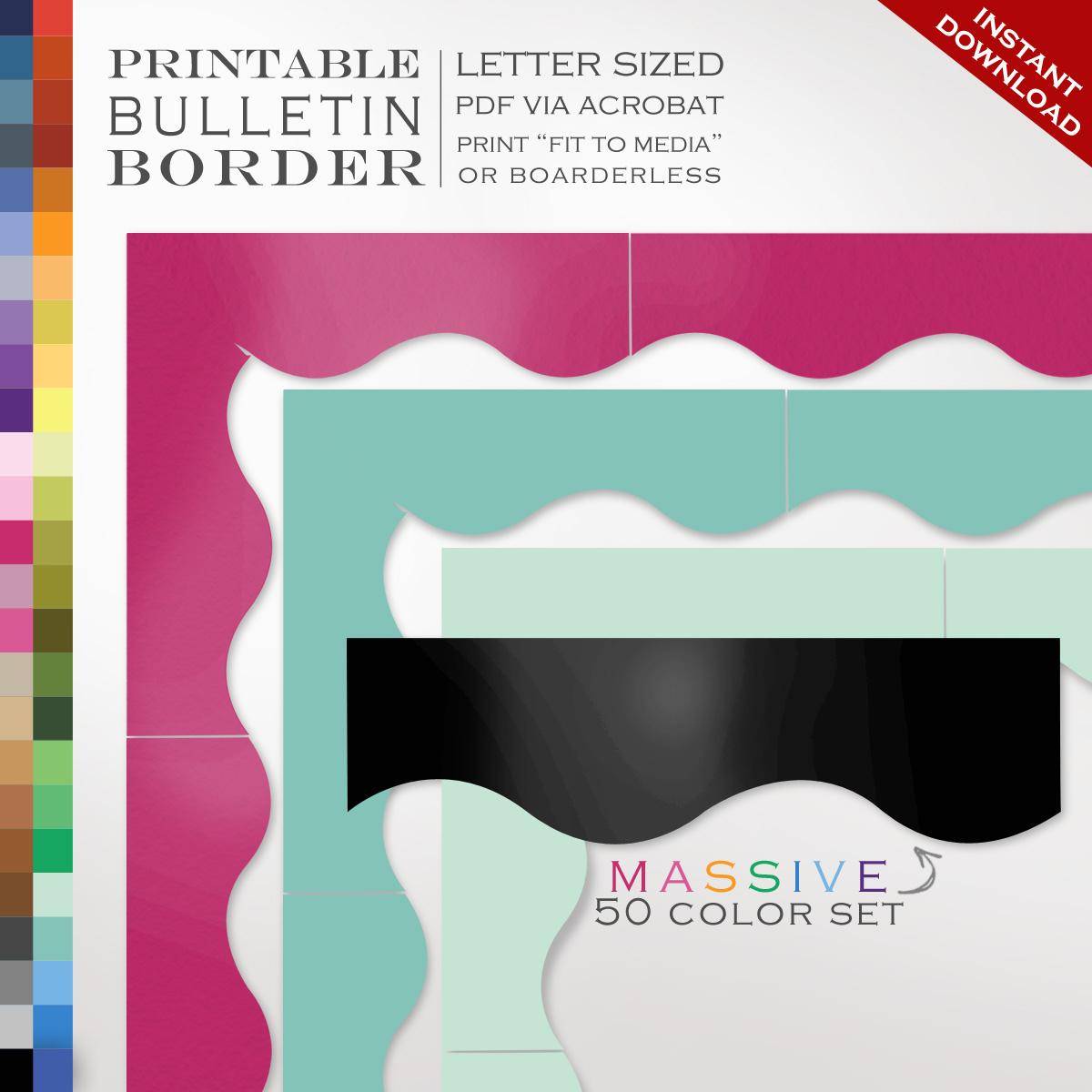 50 Piece Classroom Bulletin Board Trim - 50 Printable Single Color - Free Printable Christmas Bulletin Board Borders