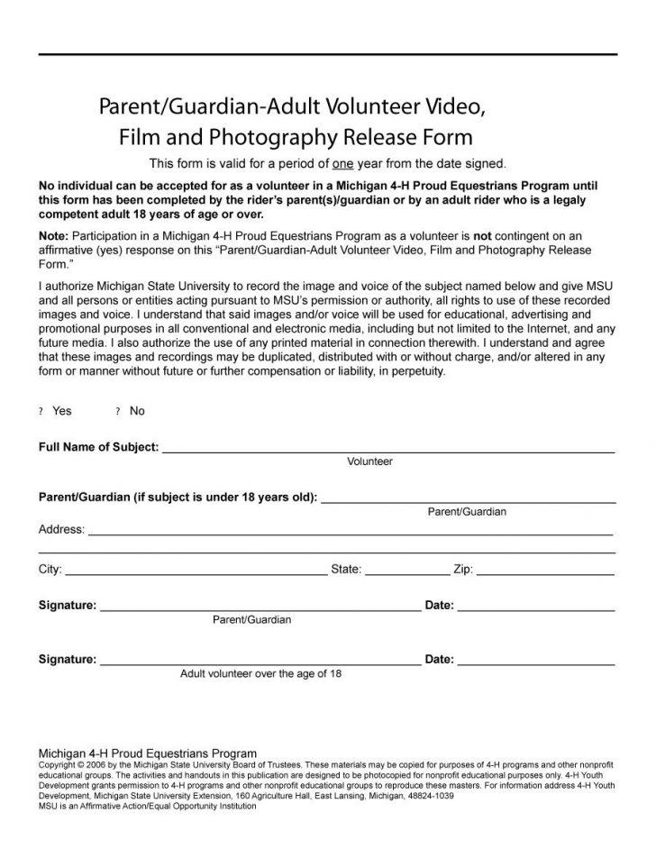 Free Printable Volunteer Forms