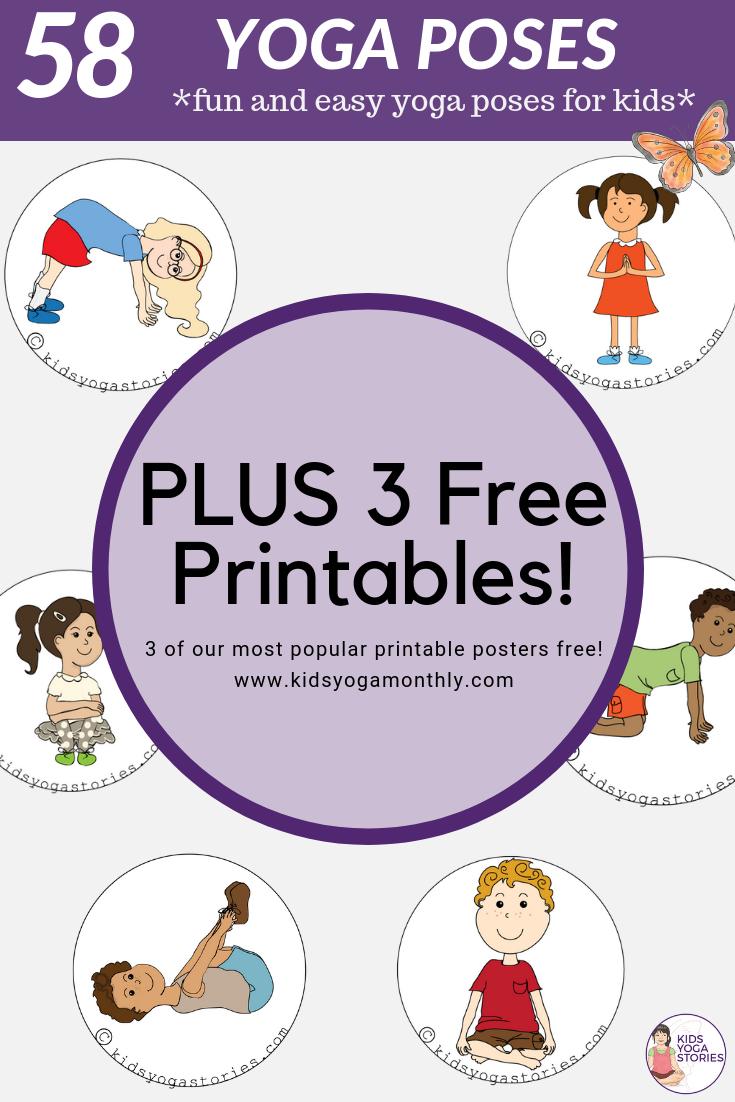 58 Fun And Easy Yoga Poses For Kids (Printable Posters) | Classroom - Free Printable Yoga Poses